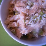Whole wheat penne in almond sauce with green peas (5)