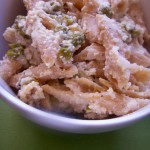 Whole wheat penne in almond sauce with green peas (8)
