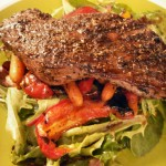 Balsamic grilled veggie salad with herb-grilled steak