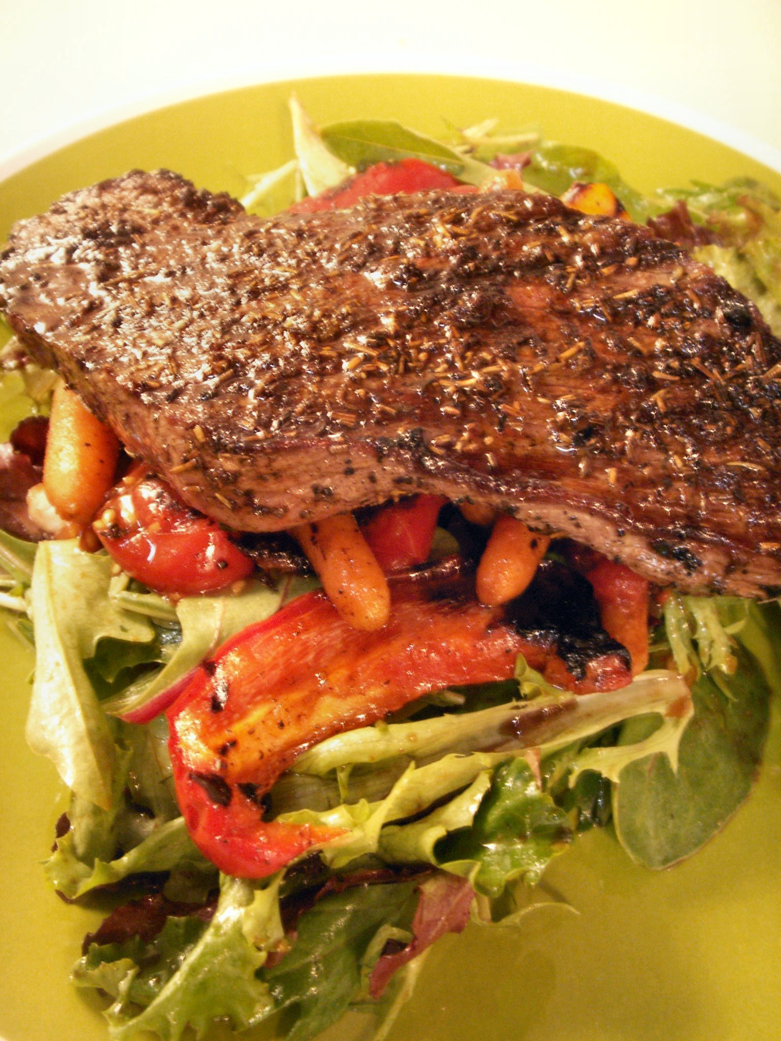 Grilled Herb Steak, Wild Salmon, and Summer Vegetable Salad