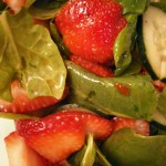 spinach-cucumber-strawberry salad