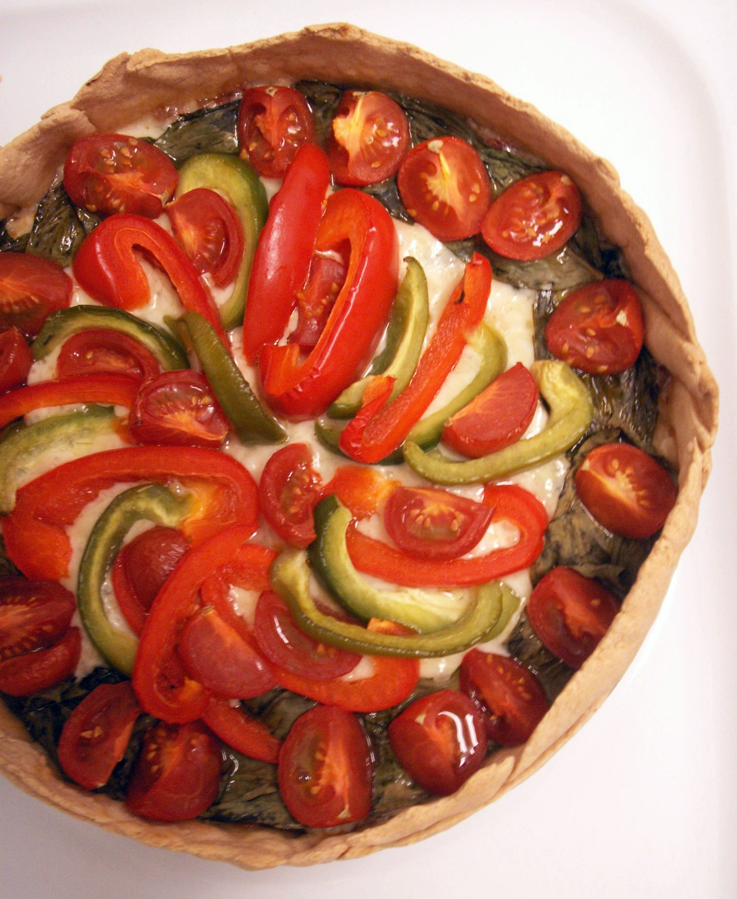 Deep-Dish Spinach & Bell Pepper Pizza