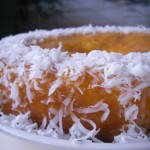 Tropical vanilla pineapple cake with mango coulis and whipped cream and coconut (23)