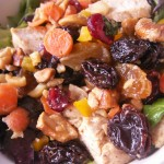 Warm pear chicken and cashew spring salad