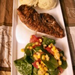 Indonesian curry marinade porkchicken with creamy mashed potatoes and miracle vinaigrette salad (47)
