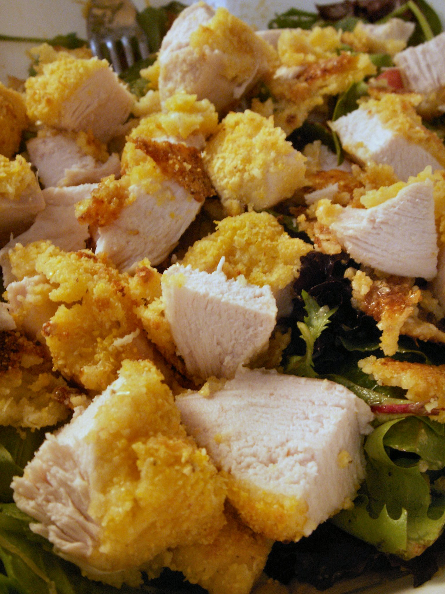Southwestern Cornmeal- & Reggianito-Baked Chicken Salad