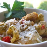 Chicken pesto shells