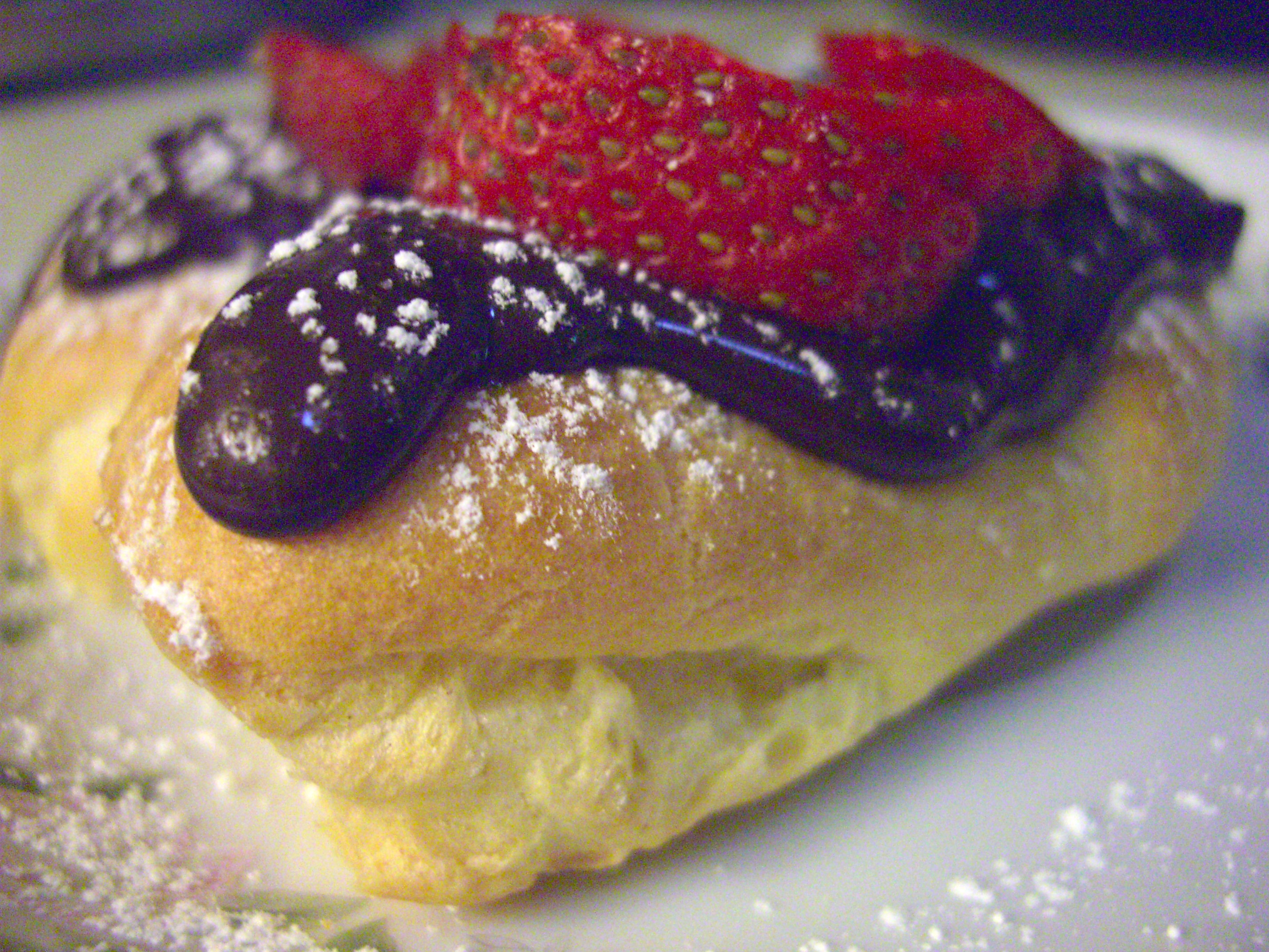 Mini Eclairs with Strawberry Sauce