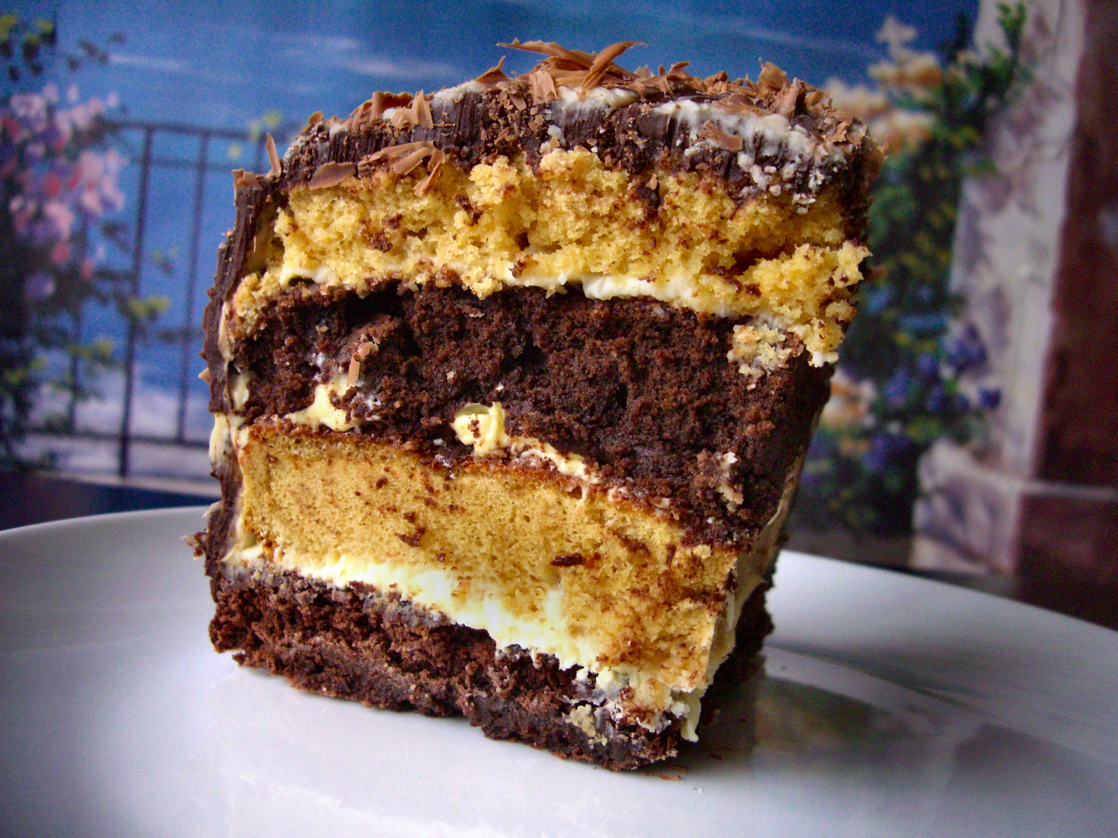 Tuxedo Layer Cake (Brownie, Chocolates, and Vanilla)