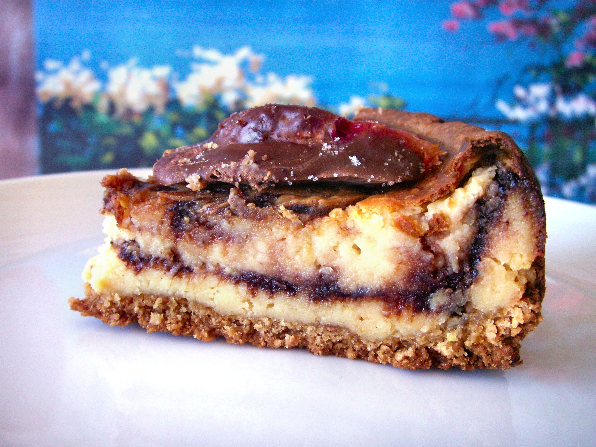 Lemon-Nutella Swirl Cheesecake with Chocolate Blood Oranges